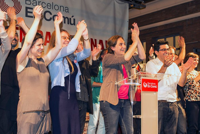 Ada Colau and the new Barcelona en Comú councillors on election night - Photo Marc Lozano